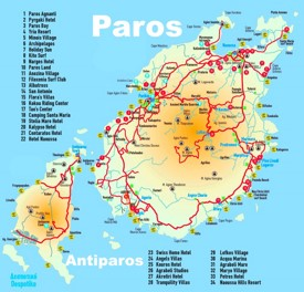 Paros and Antiparos hotel map