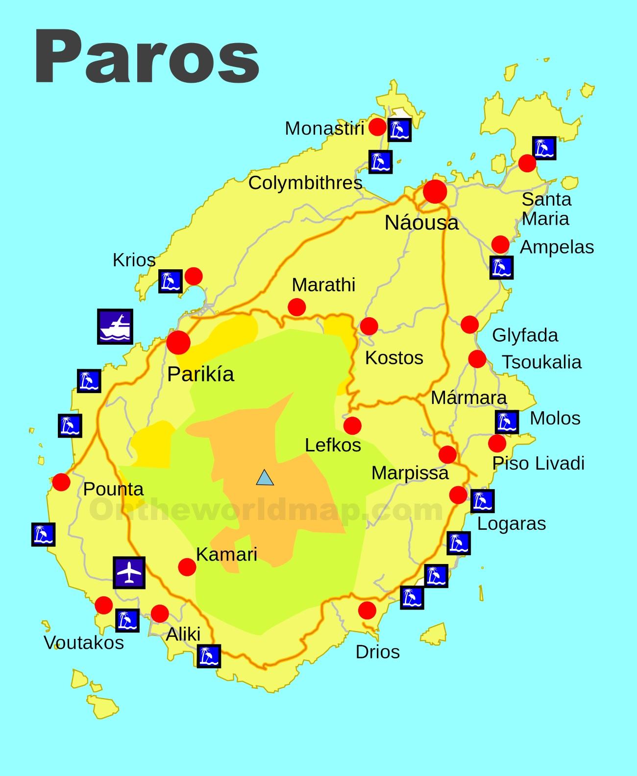 Paros Beaches Map - World map image in marathi