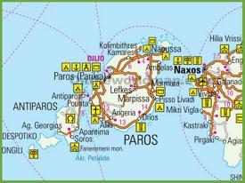 Paros tourist map