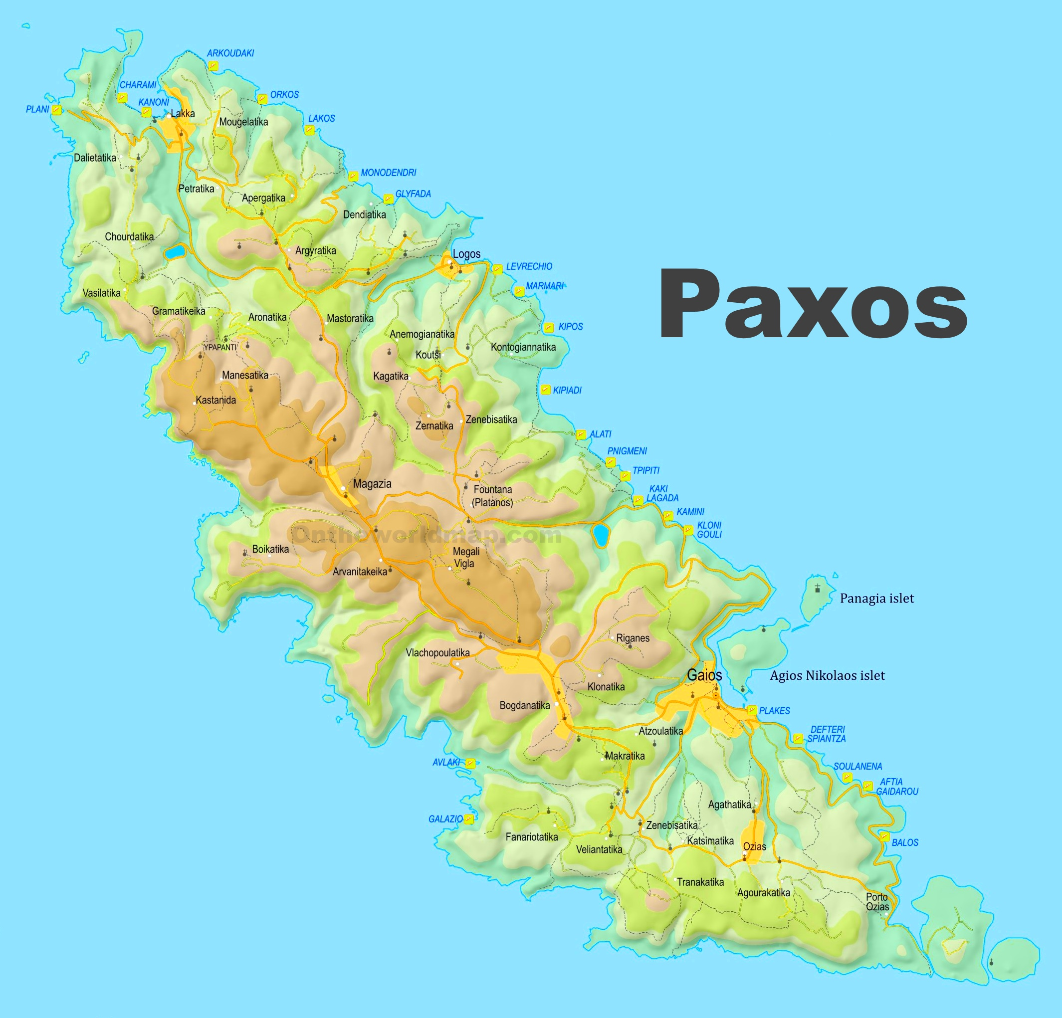 Paxos Beaches Map