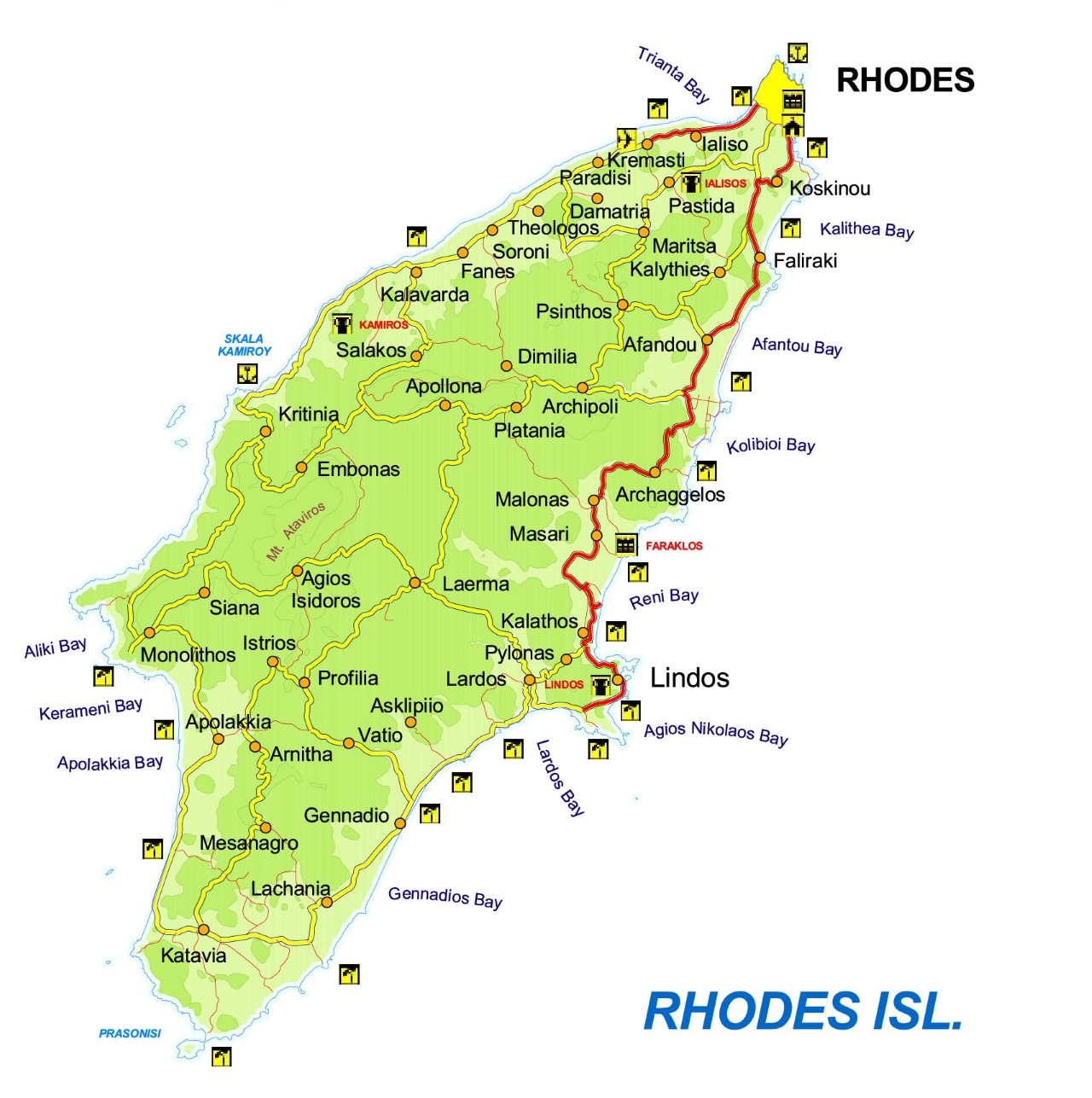 map of rhodes island greece Map Of Rhodes With Cities And Towns map of rhodes island greece
