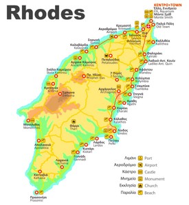 Rhodes beaches map