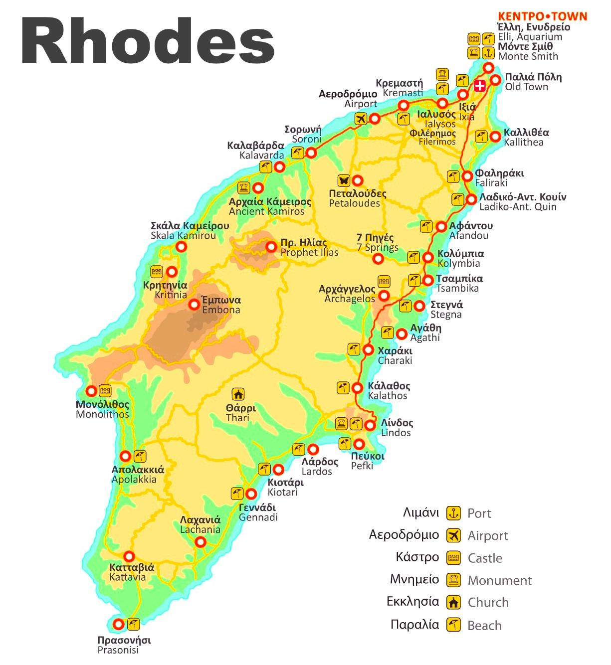 Map Of Rhodes Rhodes beaches map Map Of Rhodes