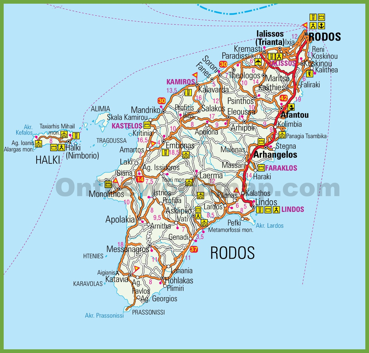 Map Of Rhodes Rhodes tourist map Map Of Rhodes