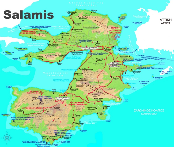 Salamis Island Greece Map