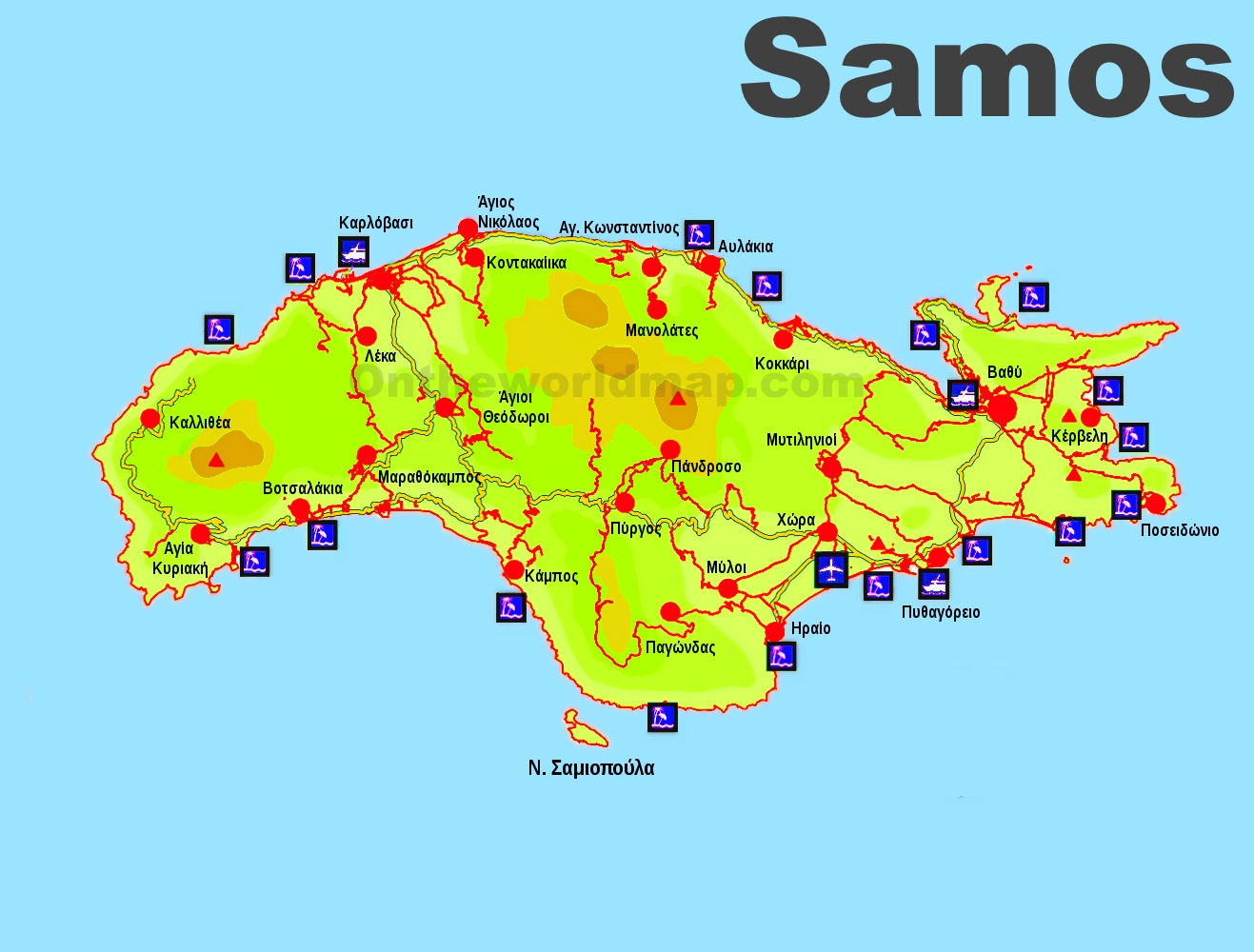 Samos Beaches Map