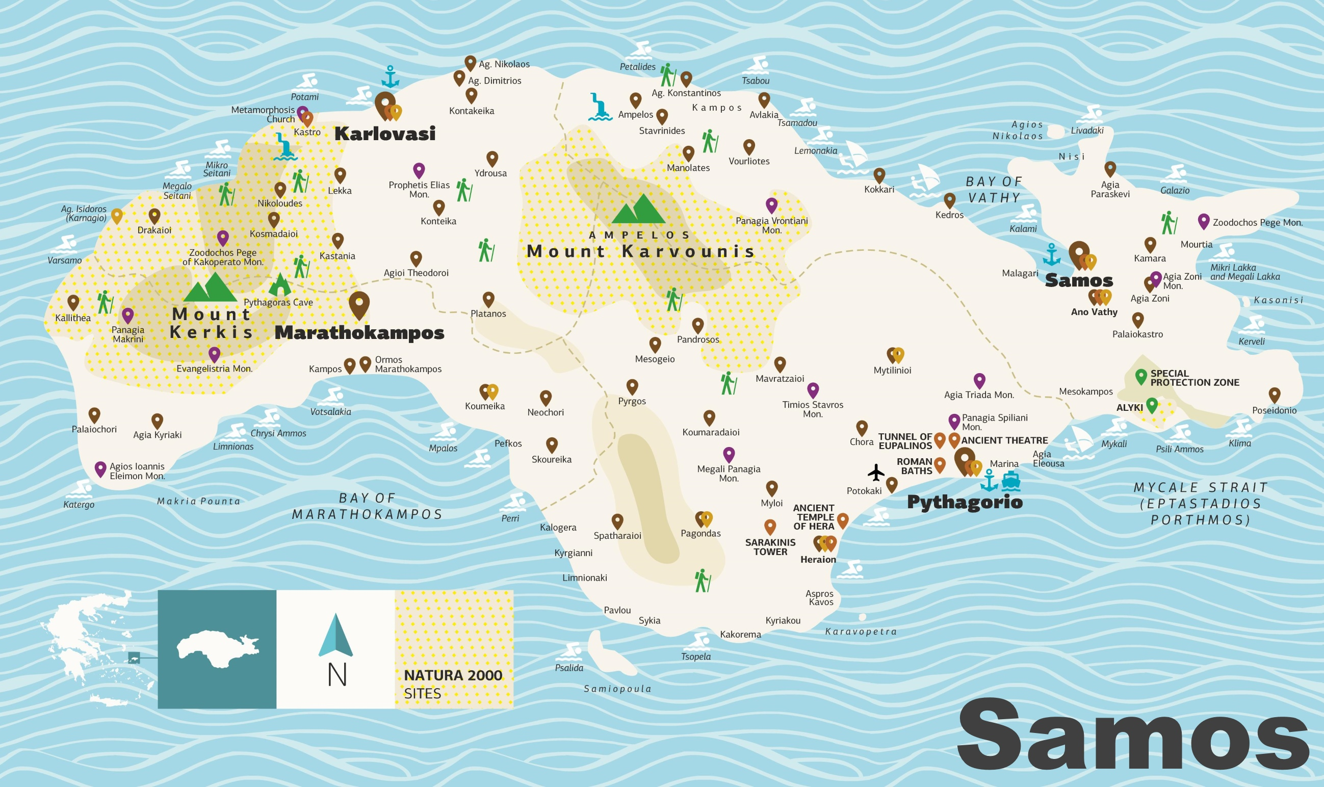 image about Printable Map of Greece identified as Spot Map Stop by.Samos.gr