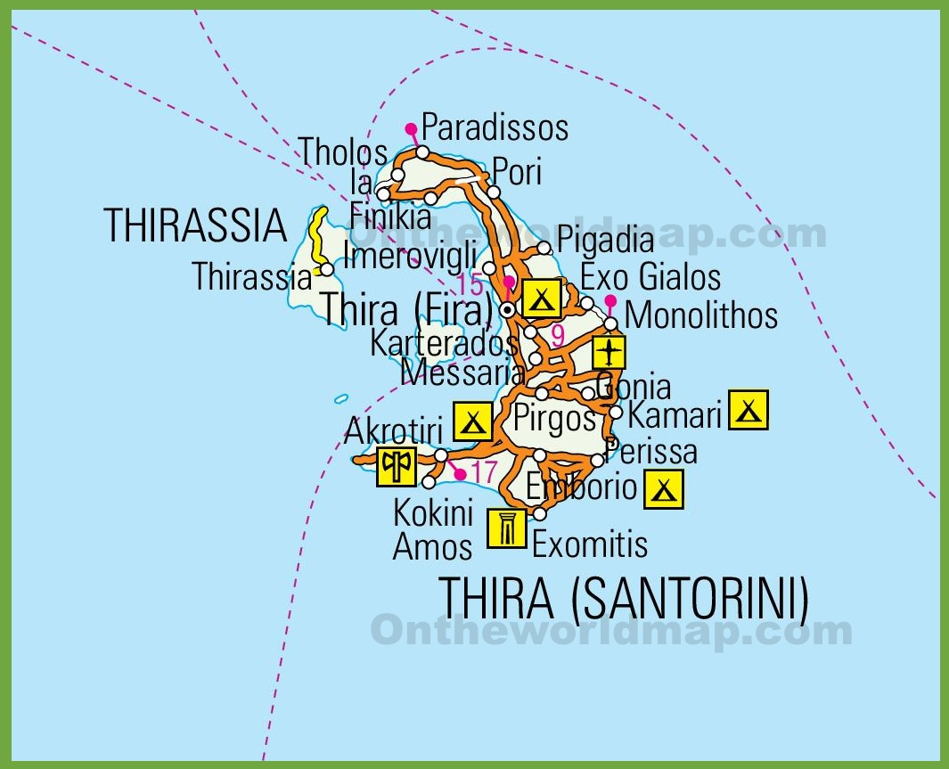 Santorini Maps Greece Maps of Santorini Island Thera