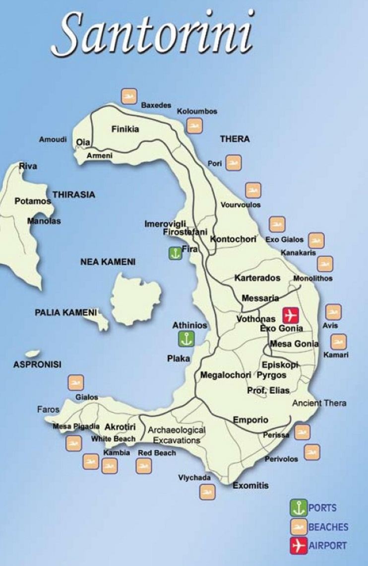 Map Of Santorini Greece Santorini tourist map Map Of Santorini Greece