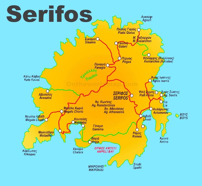 Serifos Tourist Map