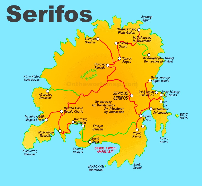 Serifos Maps Greece Maps of Serifos Island