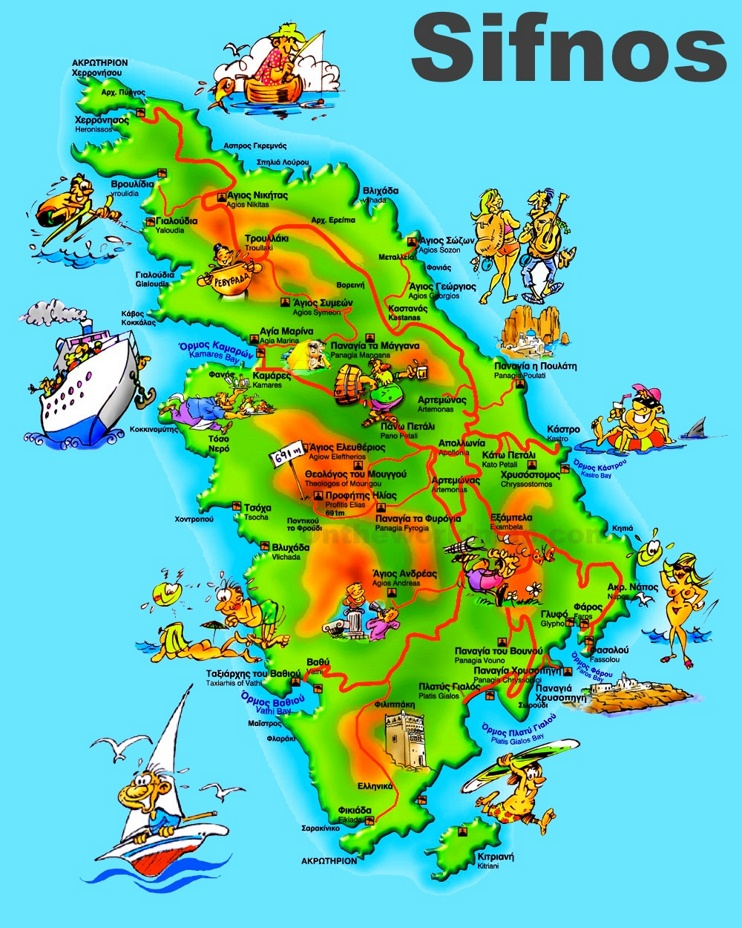 Sifnos sightseeing map