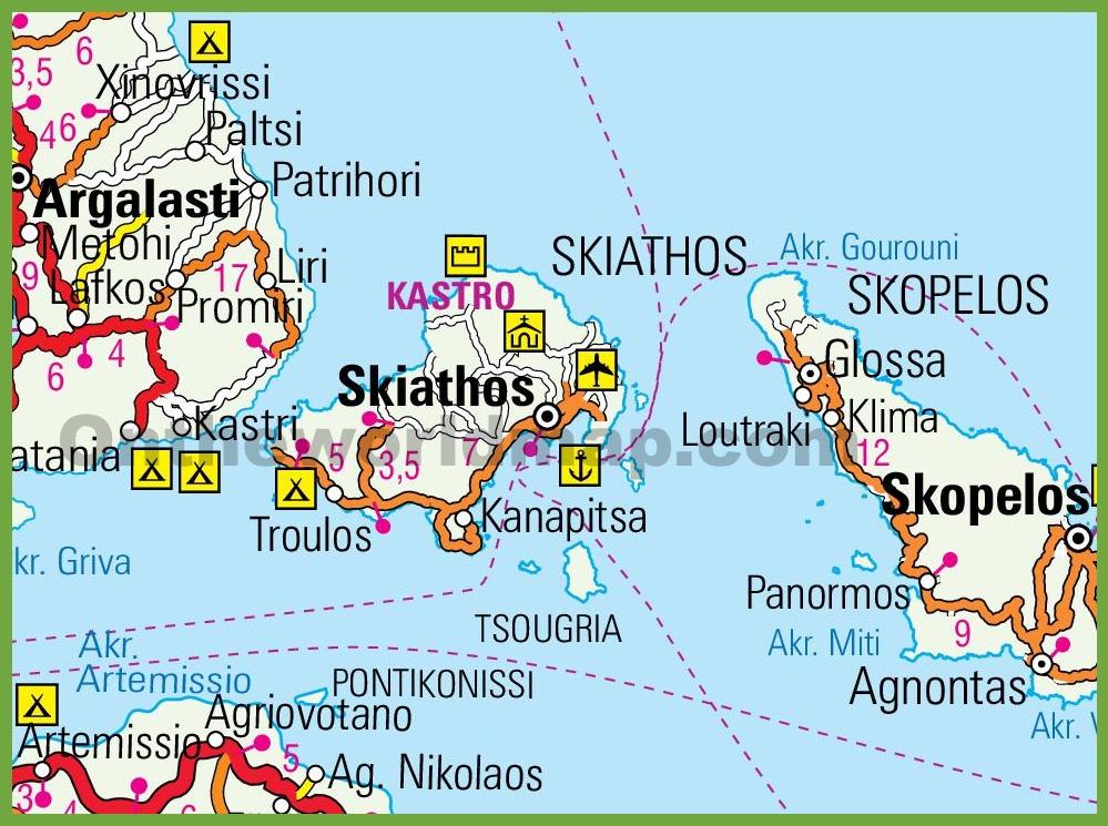 Skiathos Maps | Greece | Maps of Skiathos Island