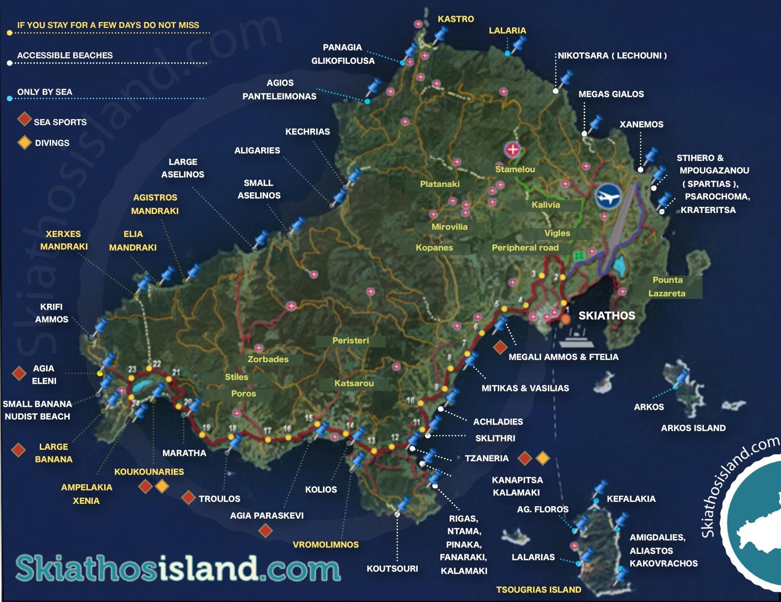Map Of Skiathos Skiathos tourist map