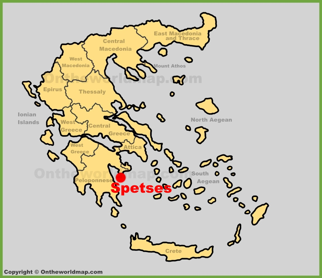 Spetses location on the Greece map