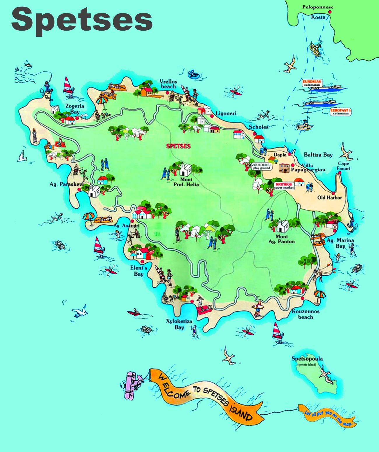 Spetses Maps Greece Maps of Spetses Island