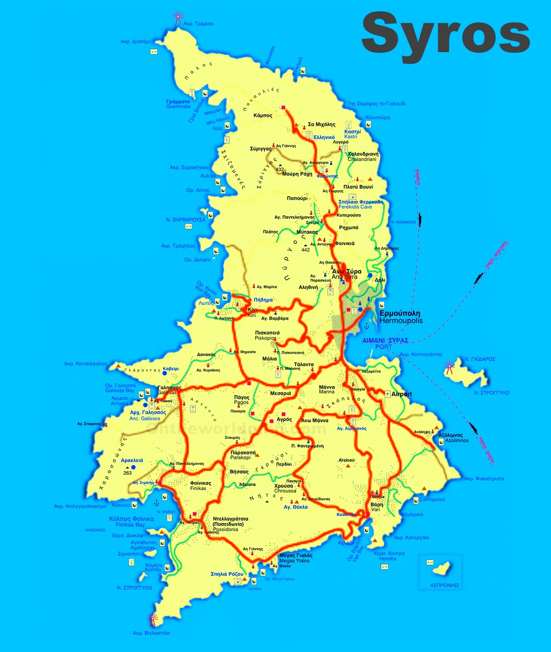 Syros Maps Greece Maps of Syros Island
