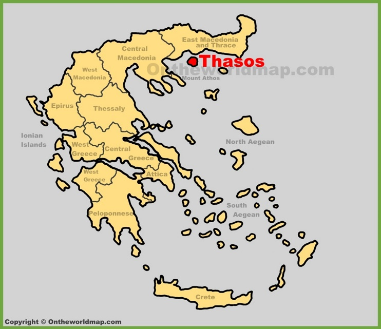 Thasos location on the Greece map