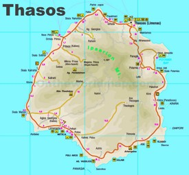 Thasos tourist attractions map