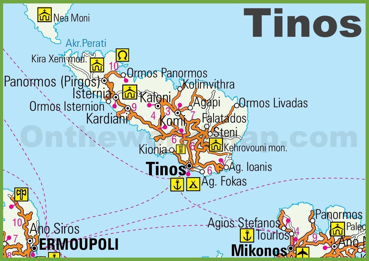 Tinos Maps Greece Maps of Tinos Island