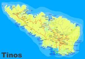 Tinos sightseeing map