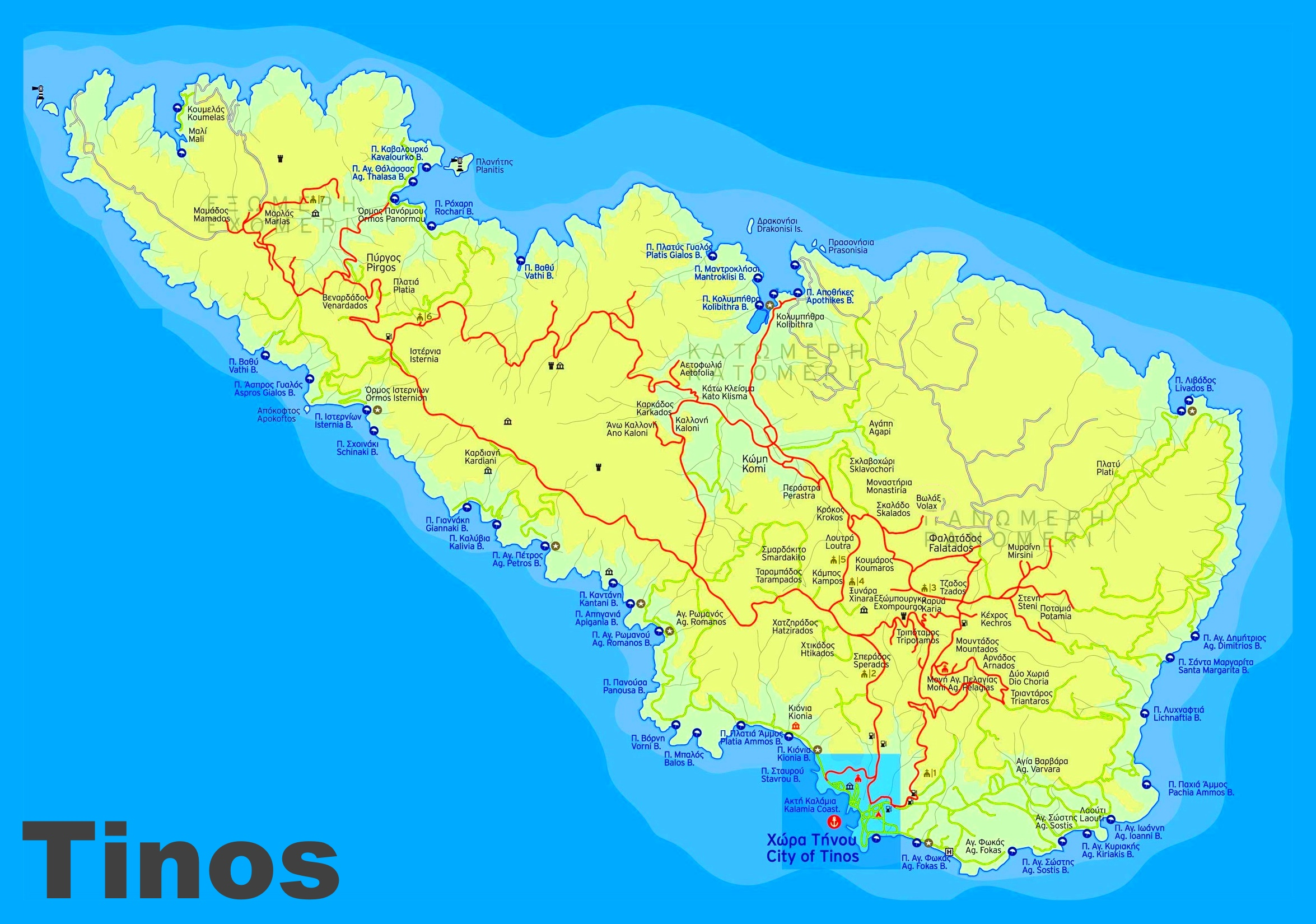 Tinos sightseeing map