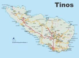 Tinos tourist map