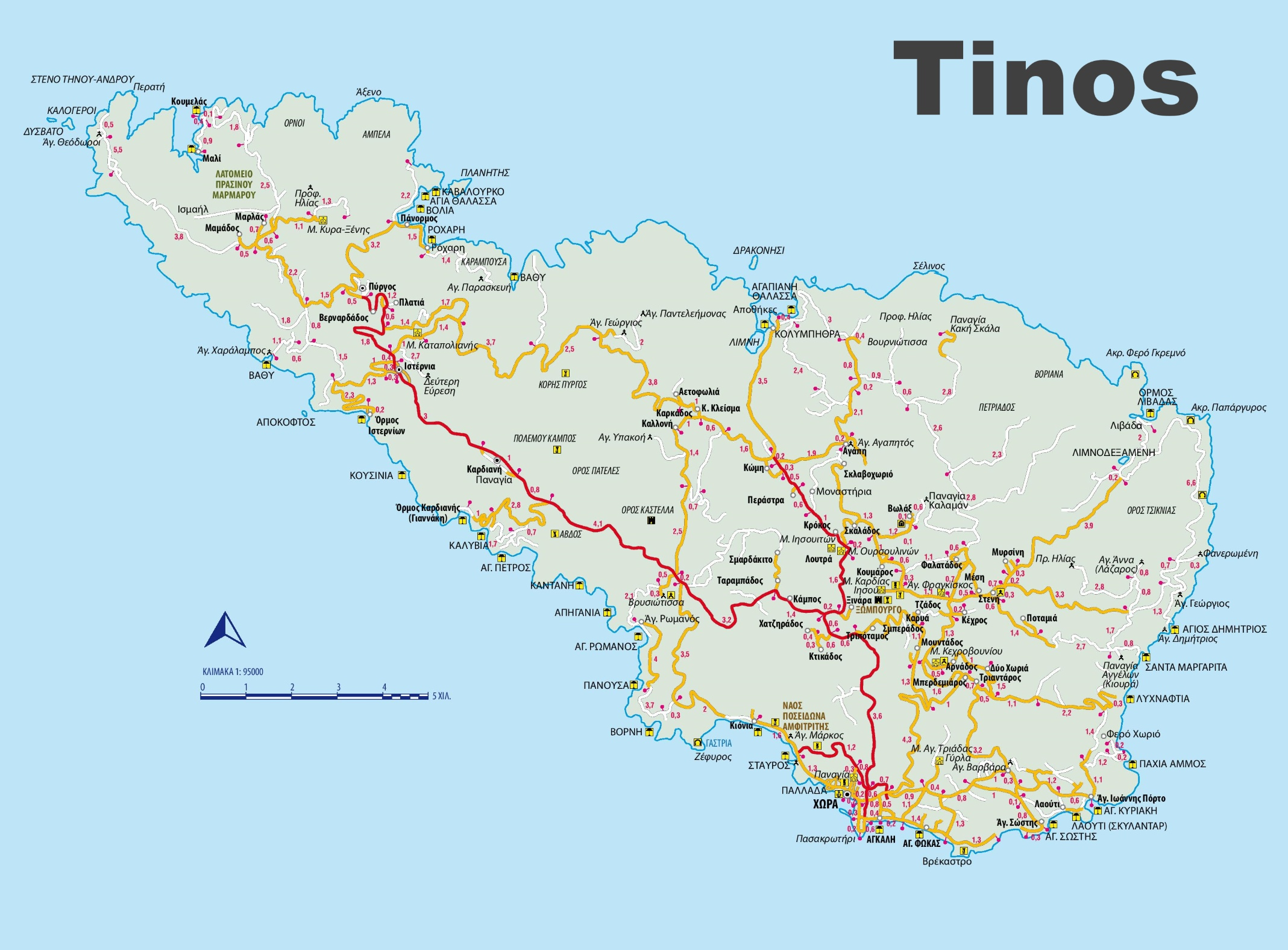 Tinos Maps Greece Maps of Tinos Island