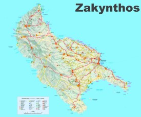 Zakynthos tourist attractions map