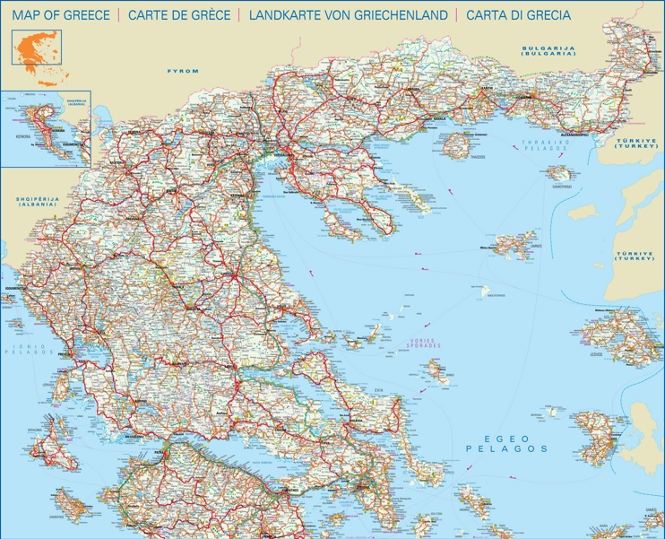 Large detailed map of central and north of Greece with cities and towns