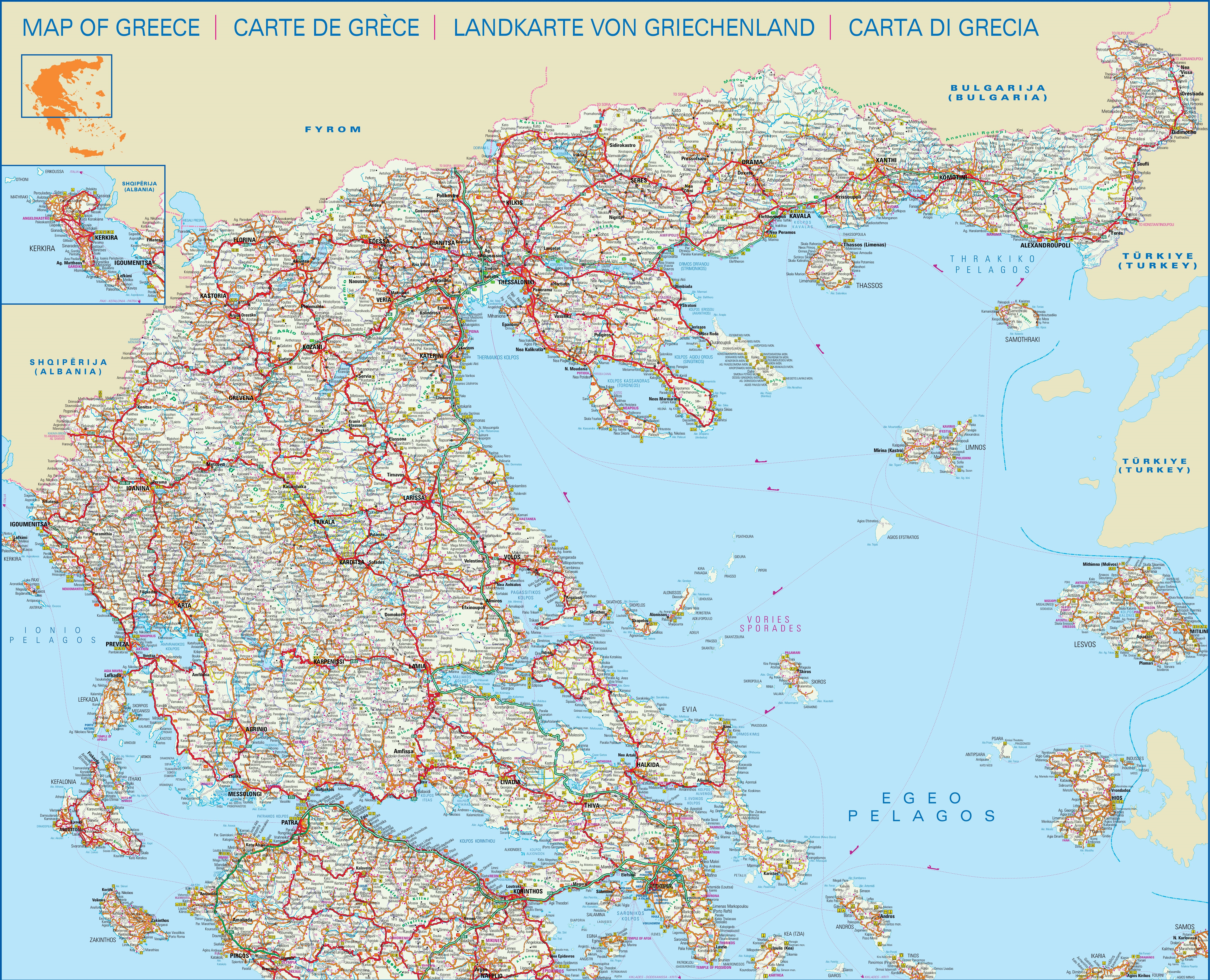 Large detailed map of central and north of Greece with cities and