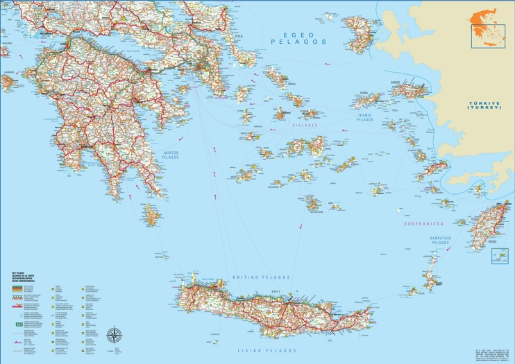 Large detailed map of south of Greece with cities and towns