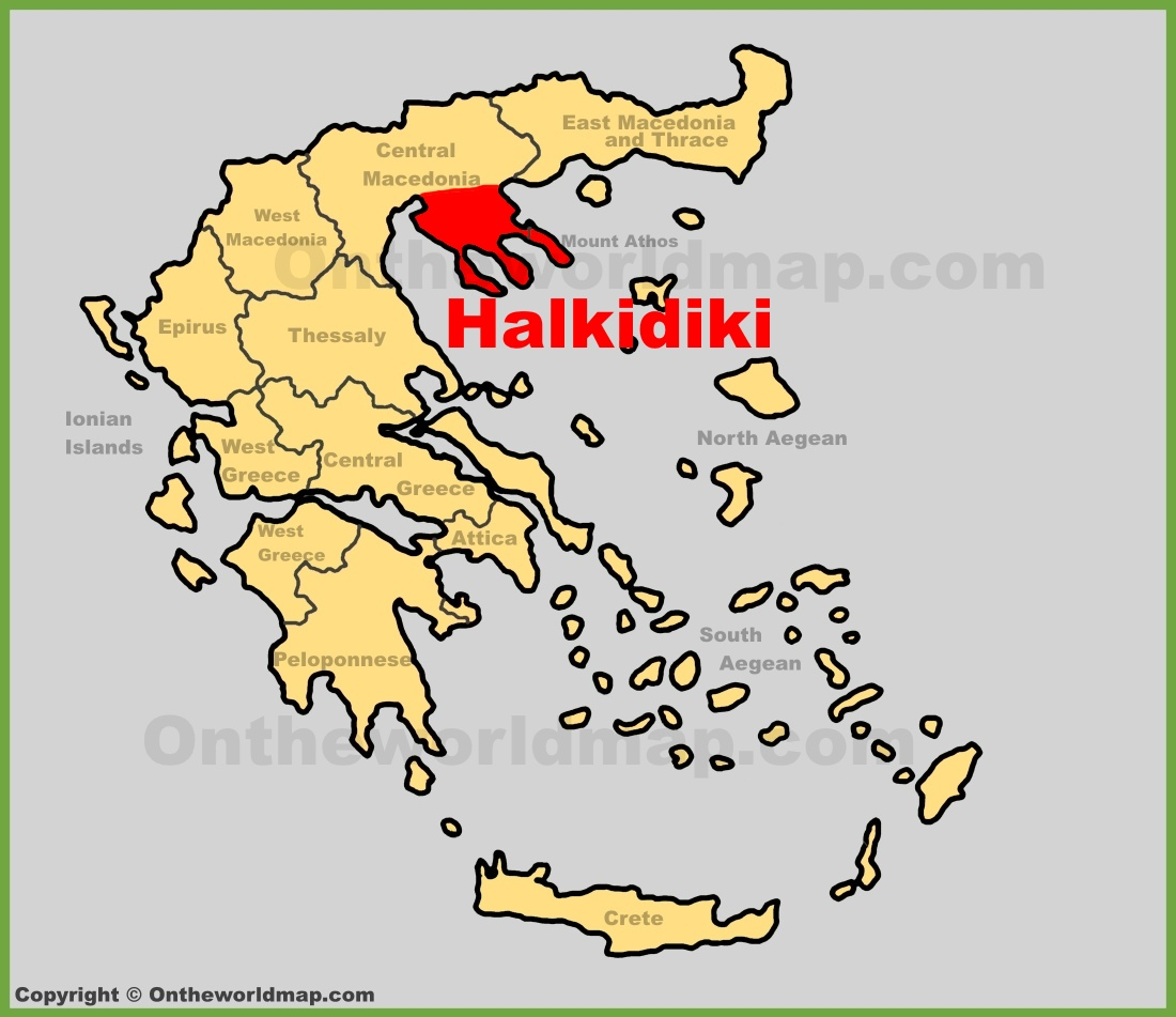Halkidiki location on the Greece map