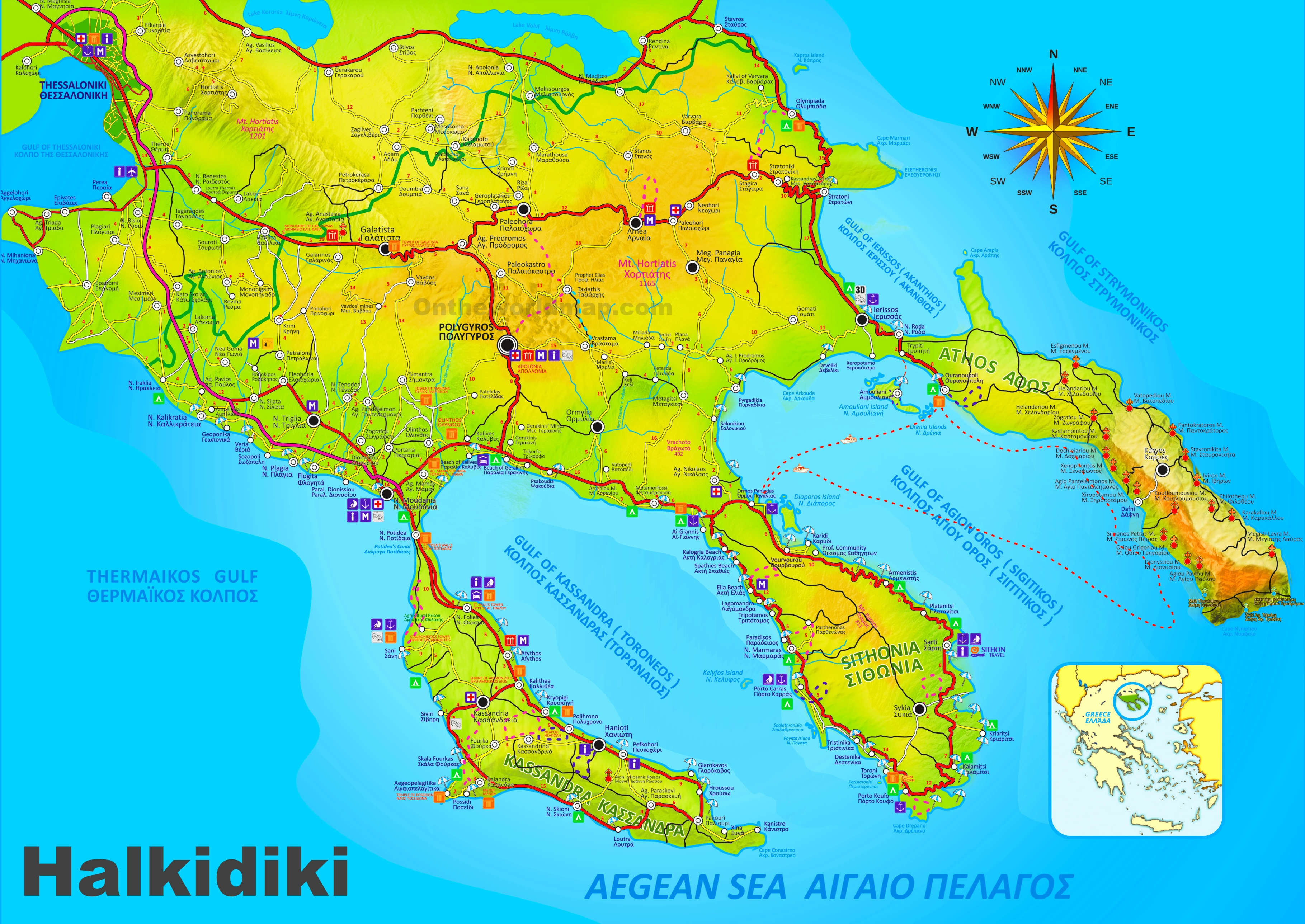 Halkidiki tourist map