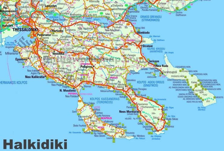 Large detailed map of Halkidiki