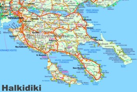 Large detailed map of Halkidiki