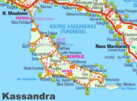 Kassandra Maps Greece Maps Of Kassandra Halkidiki