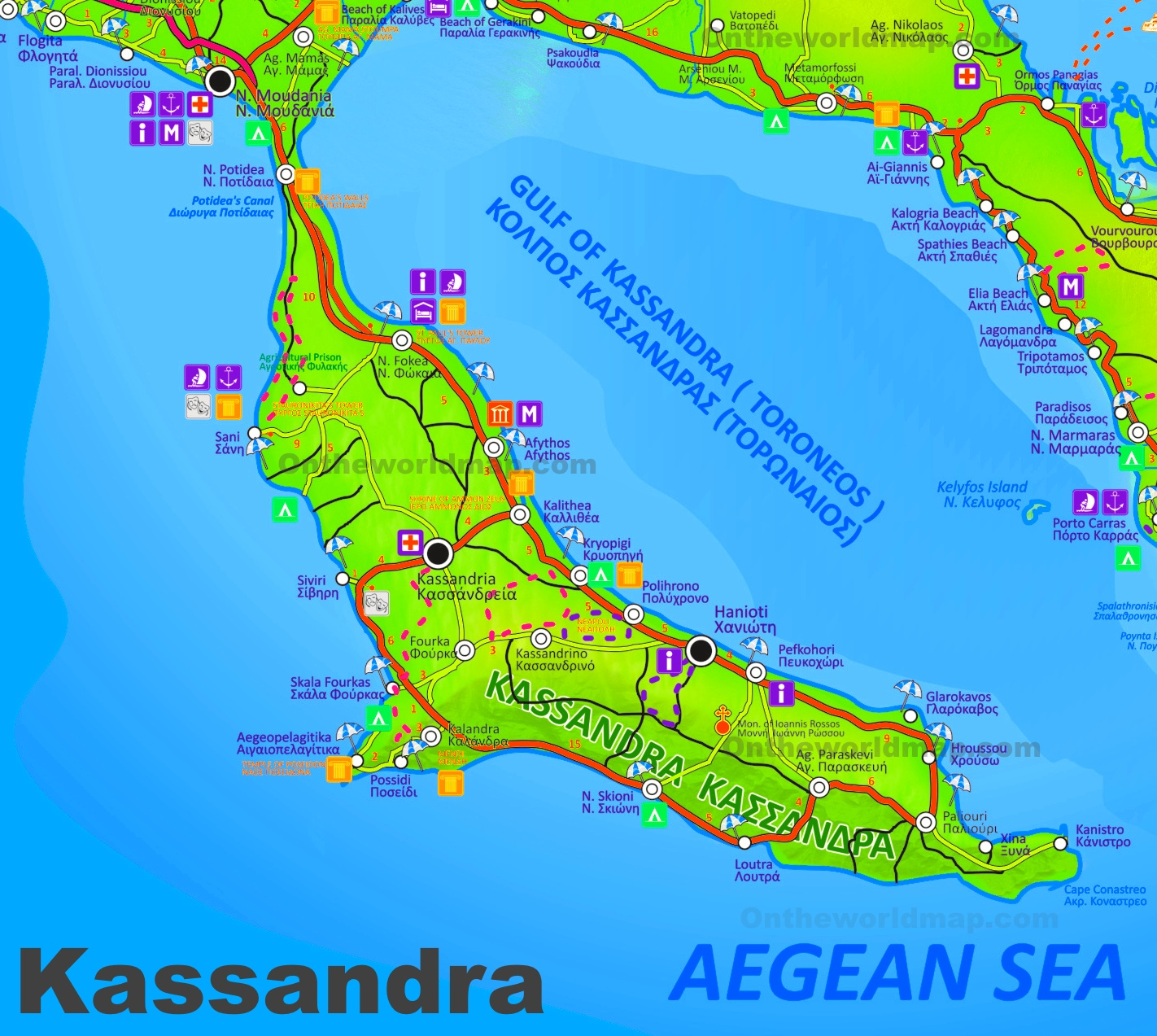 Kassandra tourist attractions map