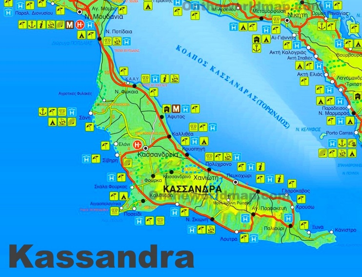 Kassandra tourist map