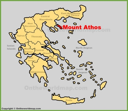 Mount Athos Location Map