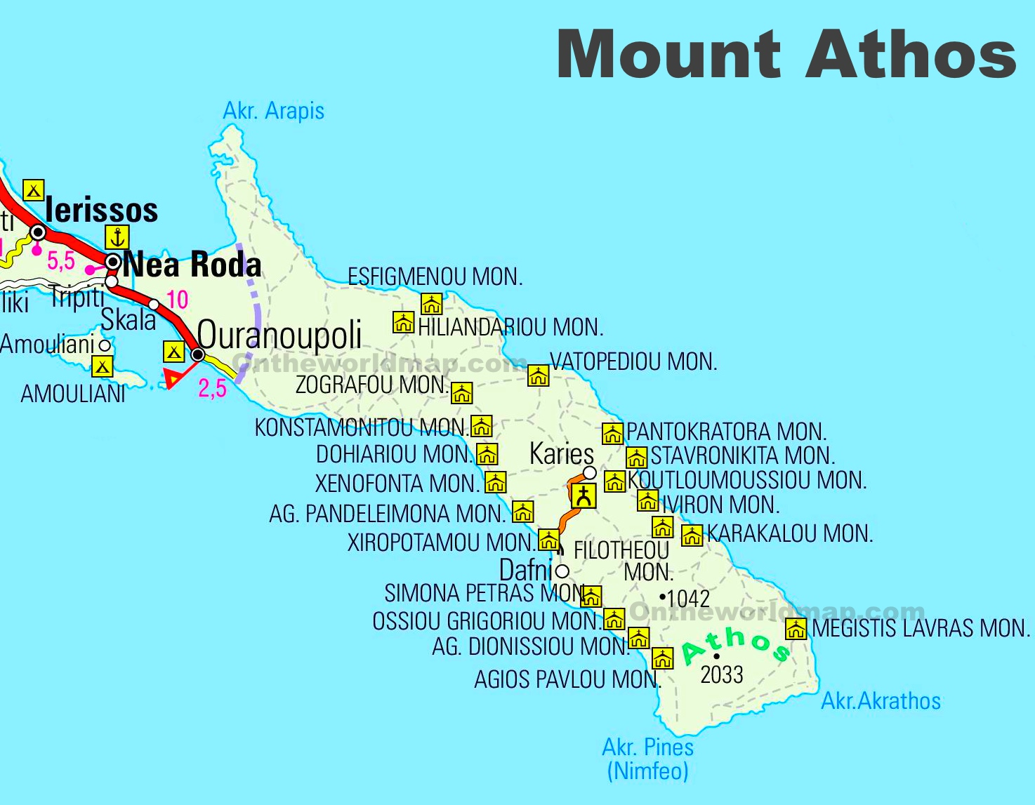 Mount Athos road map