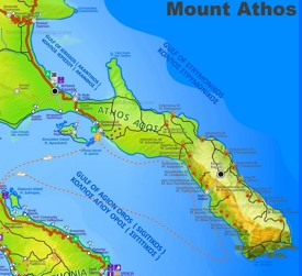 Mount Athos tourist map