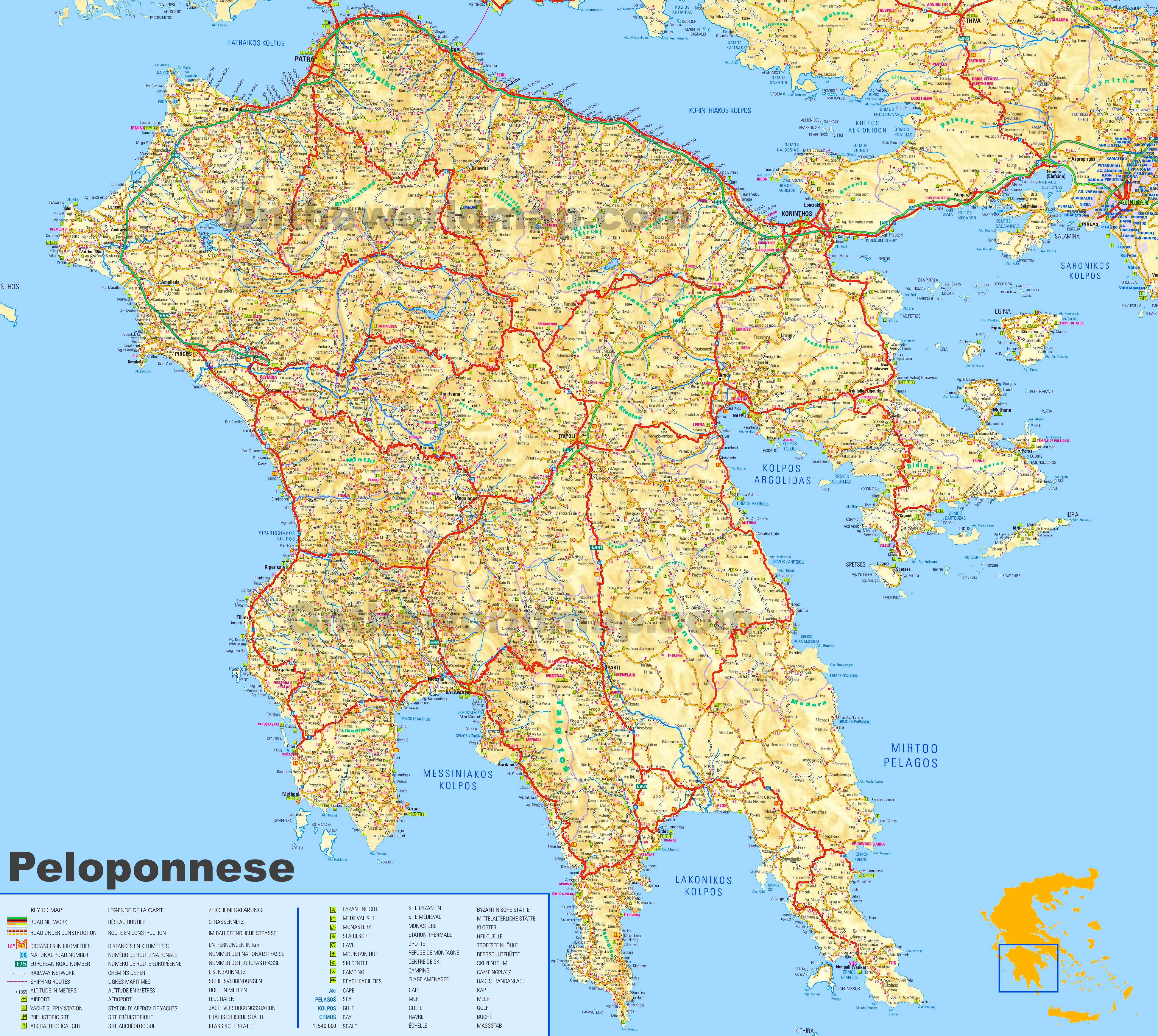 Large detailed map of Peloponnese