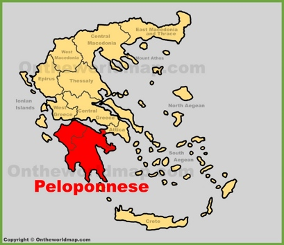 Peloponnese Location Map