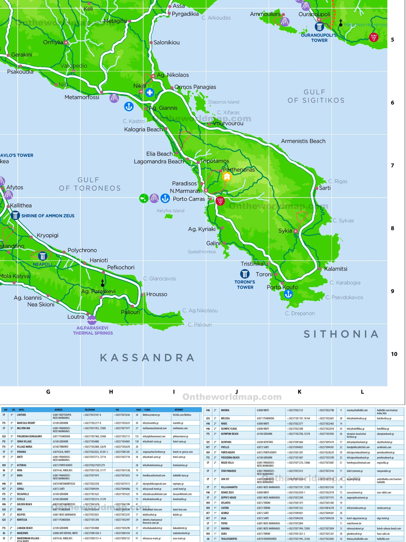 Sithonia hotels and sightseeings map