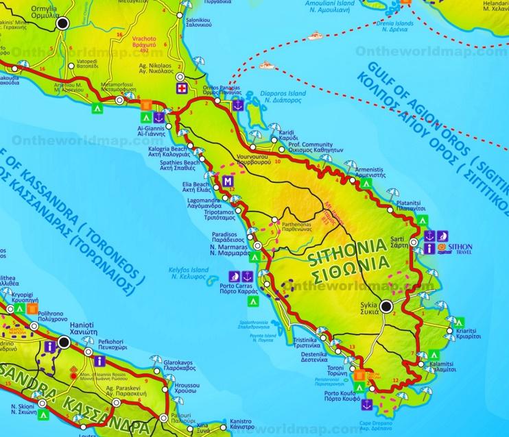 Sithonia tourist map