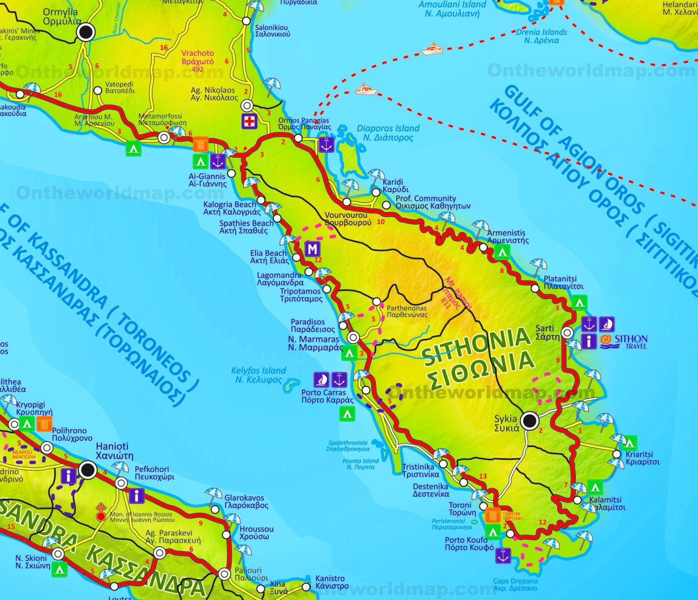 Sithonia Maps | Greece | Maps of Sithonia