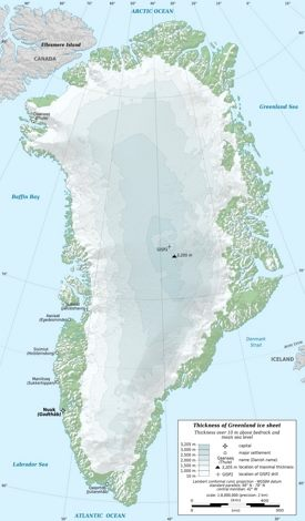 Topographic map of Greenland