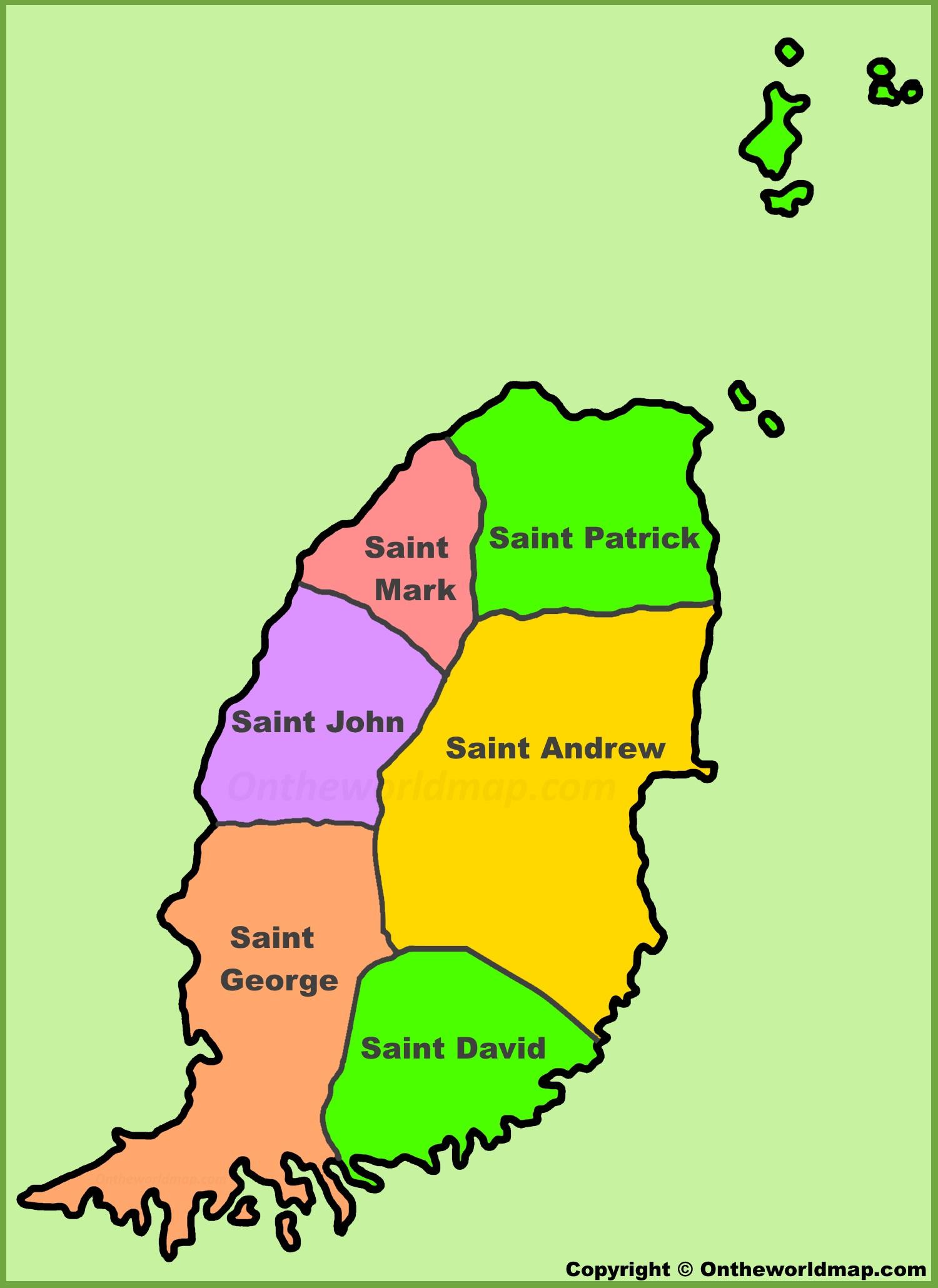 Map Of Grenada Administrative map of Grenada