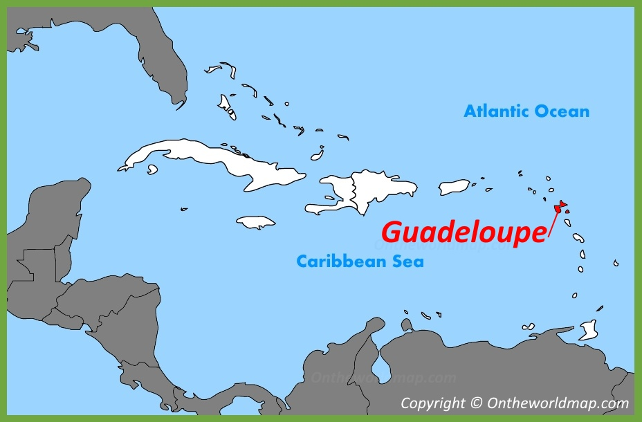 Guadeloupe location on the Caribbean Map